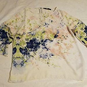 Rose & Olive Sheer Flower Design Blouse Sz MD